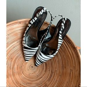 Nine West • Pointed Toe Zebra Print Heeled Flats